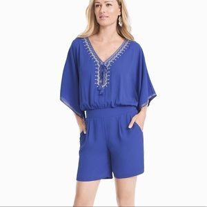 New WHBM Blue Embroidered Kimono Sleeve Romper